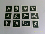 30 x Sport themed stencils (mixed) for glitter tattoos / airbrush tattoos / henna / cakes / many other uses  fund raising boys